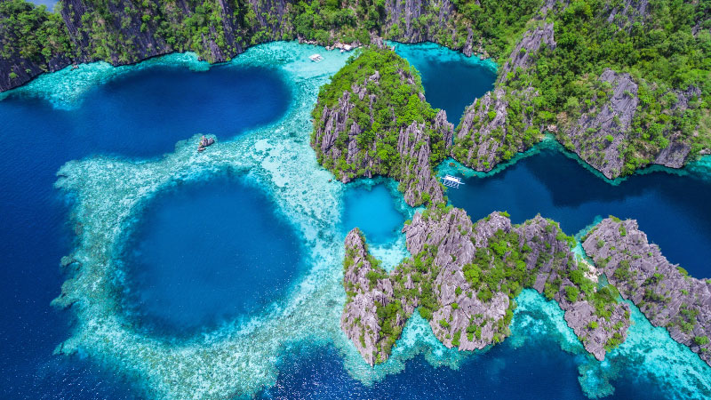 an aerial view of the coron islands in the philippines