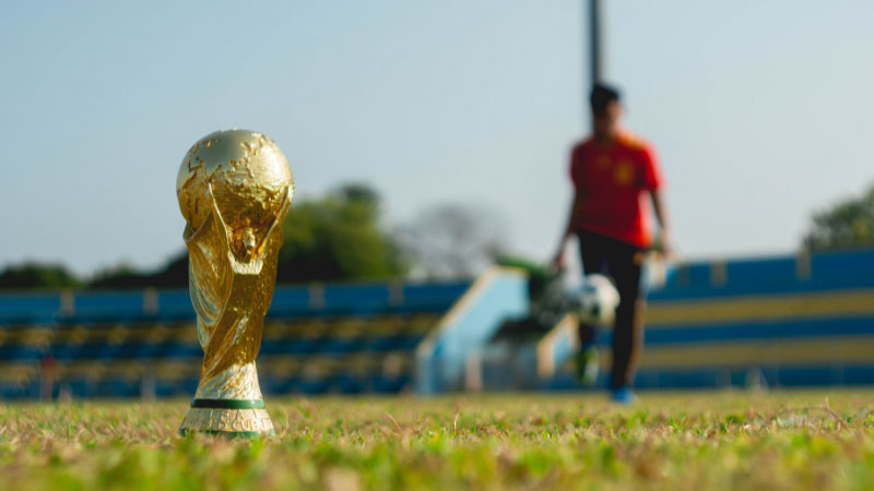 the fifa world cup on a football pitch