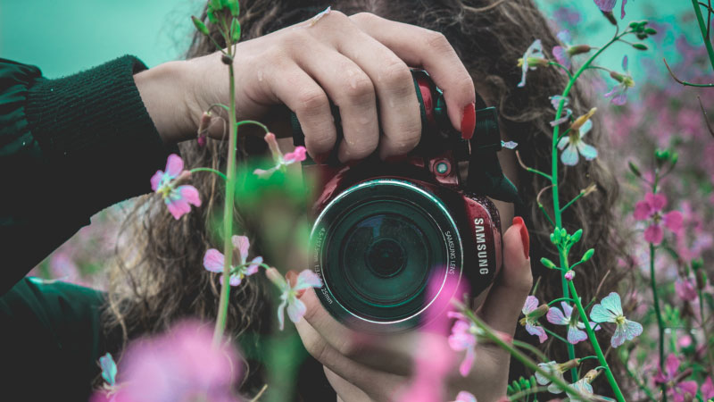 woman getting creative by using flowers to frame her shot