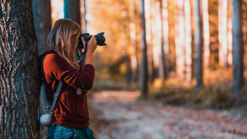 Woman leaning on a tree to take photographs in a forest