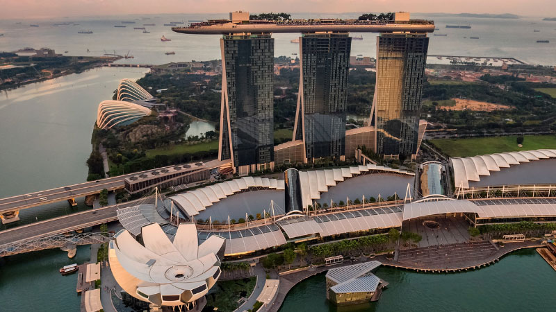 an aerial city of singapore