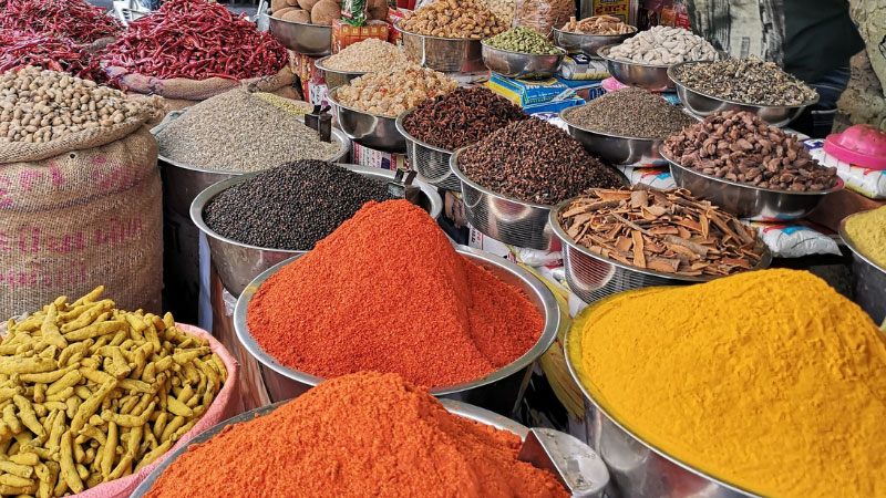 spices at a market in India