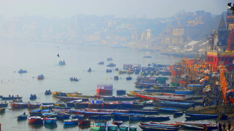 boats on the river ganges in Varanasi, India