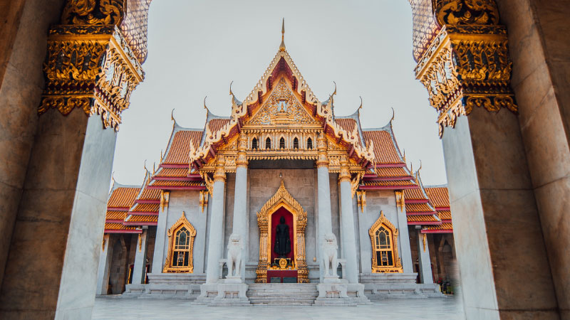 the temple of wat benchamabophit in bangkok, Thailand
