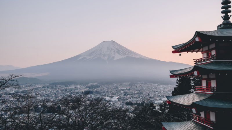 a view of mount fuji in japan