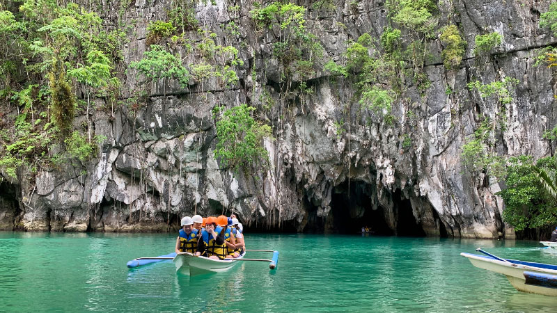 a boat on the puerto princesa underground river