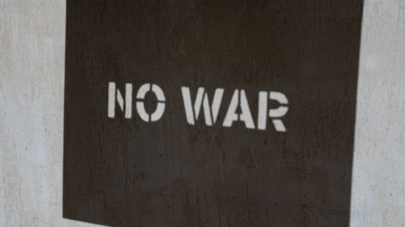 a sign that says no war